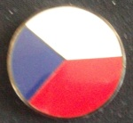 The font side of the geocoin we found displaying the Czech Republic Flag. Click to enlarge
