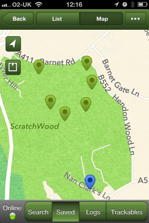Map showing the area around Barnet Gate Wood where the Nan Clarke's Series of Caches is. Click to enlarge