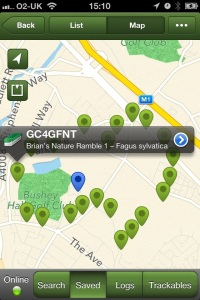 Map showing the First half of Caches on Brian's Nature Ramble in Bushey