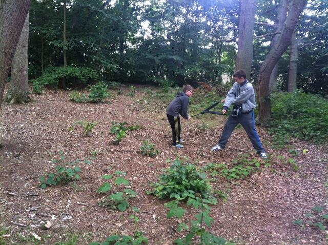 Boys messing around in the woods in Oxhey