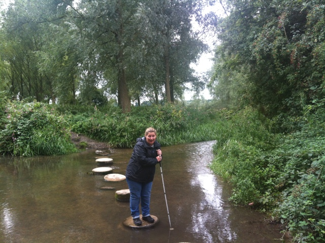 Shar is pictured on the second stepping across a shallow river. She is not going any further.