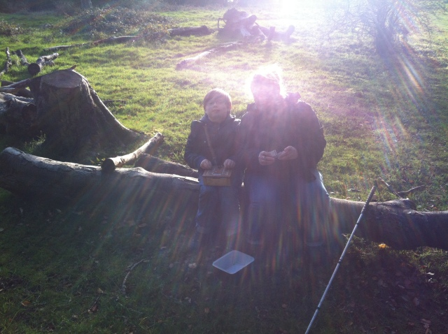 Sam and Shar are pictured sitting on a log with the sun bright behind them casting them into shadow as they try to figure out what to do with the puzzle box