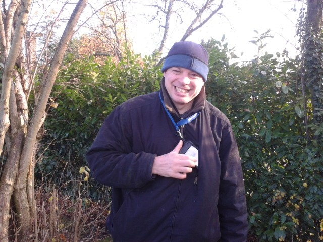 Paul is looking very happy to be back safely on the ground after nabbing teh tricky RFC1149 cache.