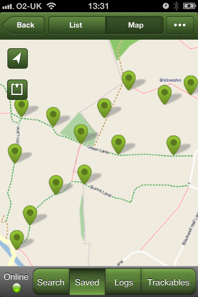 A map showing the caches on and around the green lane area in buckinghamshire