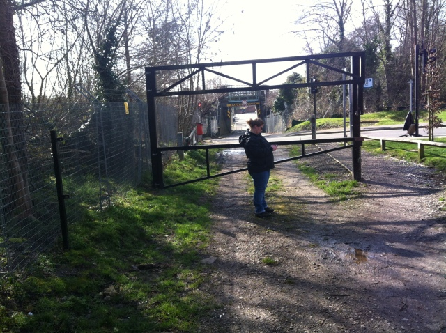 Shar is pictured next to a large metal gate that blocks access to vehicles into the park.