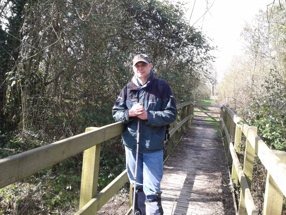 2014-03-29 PugWash in Langley Park 12 Paul posing at the bridge cache