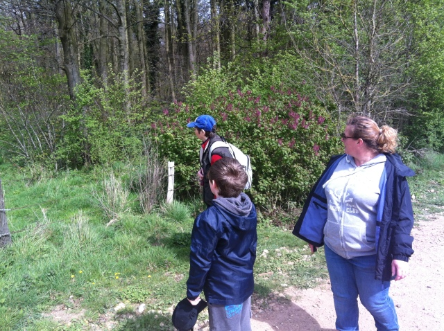 Sam Shar and mum all look into the trees, at what, god only knows