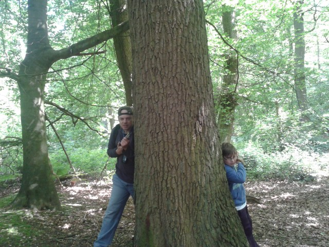 Paul and Sam peek out from opposite sides of a large tree with cane and sticks in hand ready to take on the muggleovians