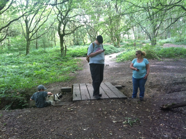 Sam and Smokey explore under the small bridge that crosses the dried up stream while Geoof stands atop the bridge. Shar stands on teh far bank