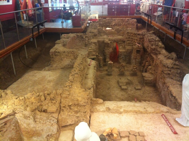 The remains of the Roman Bath house. The main house would have been to the right of the baths. From nearest to the camera the layout would have been the changing area, cold bath, warm, hot bath where the walls and floors would be too hot to touch and then the furnace which would need to be kept burning all the time in order to keep the hot room up to temperature.