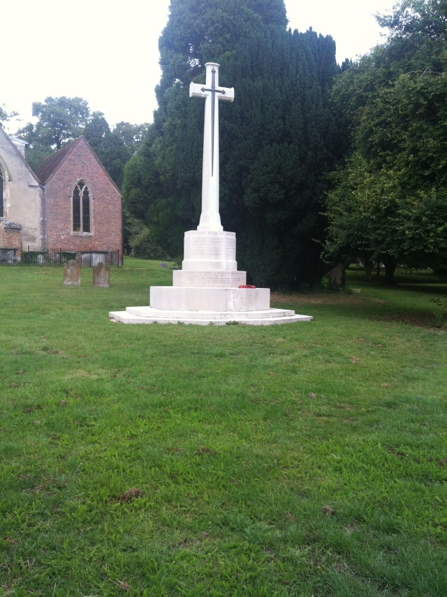War Memorial in the churchyard. From a virtual sword to a very real one.