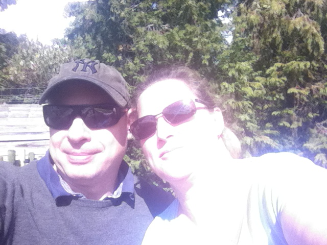 Paul and Shar sit close together for a selfie at the halfway stage of the walk.