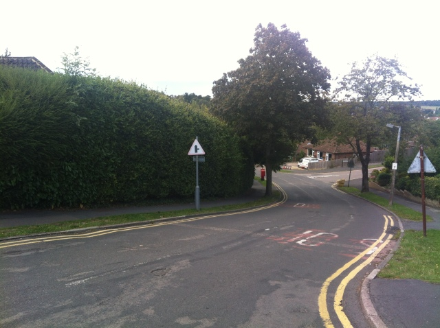A view down a steep hill.
