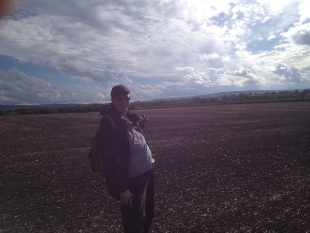 Geoff is pictured pointing into a field.