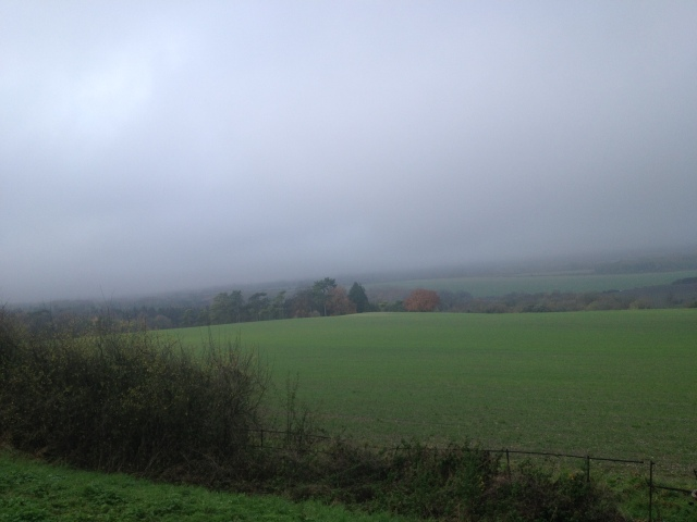 A normally spectaular view into the Aylesbury Vale is obscured by a thick layer of fog