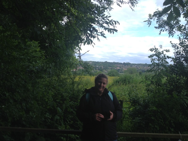 Shar stands on a low wooden platform that provides excellent views of the hertfordshire countryside