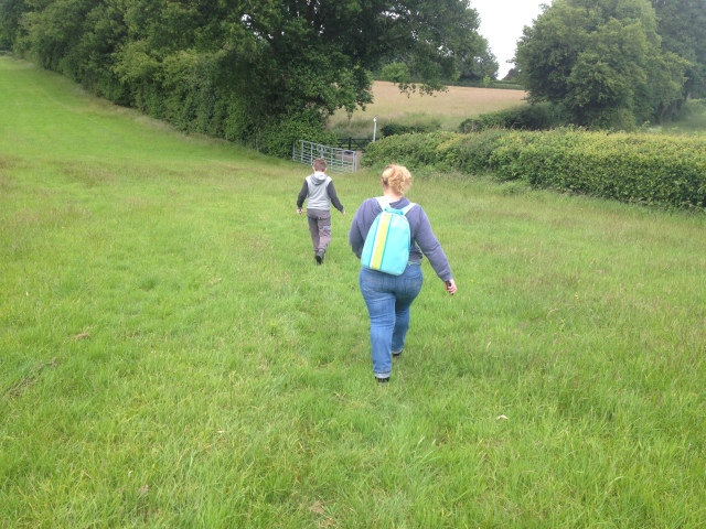 This picture shows an open field. Sam and Shar are walking through the field away from the camera