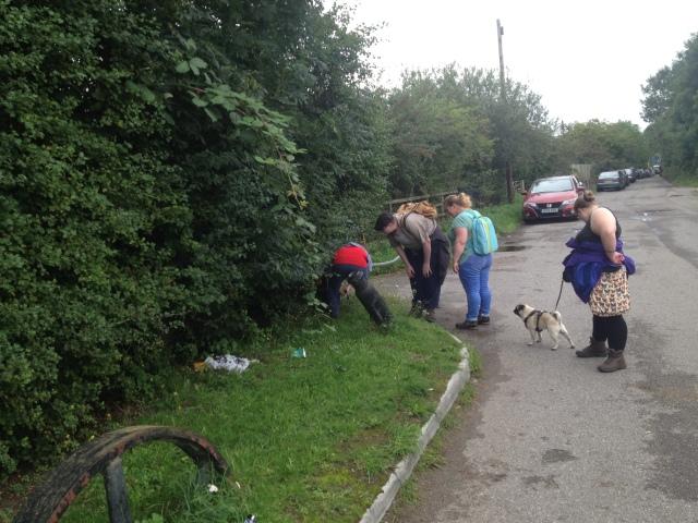 Group shot near the train wheel cache.