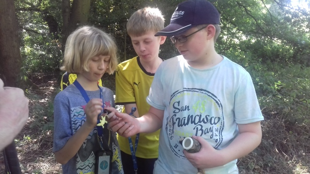 Ben and Ethan (BigBruBurrows) and Sam (Miniknight) inspect the contents of their first collaborative geocache find