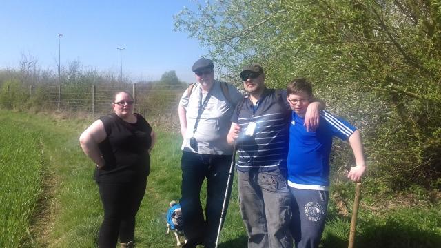 Group shot in a field of team PugWash including Geoff, Paul, Mel, Sam and Smokey